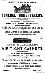 Early undertaker ad