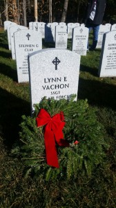 Veteran's grave with wreath