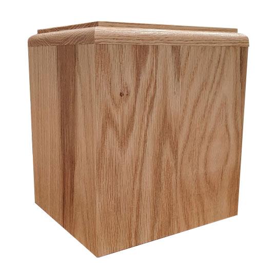 Oak cremation urn