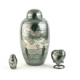 Doves urn, keepsake urn and heart
