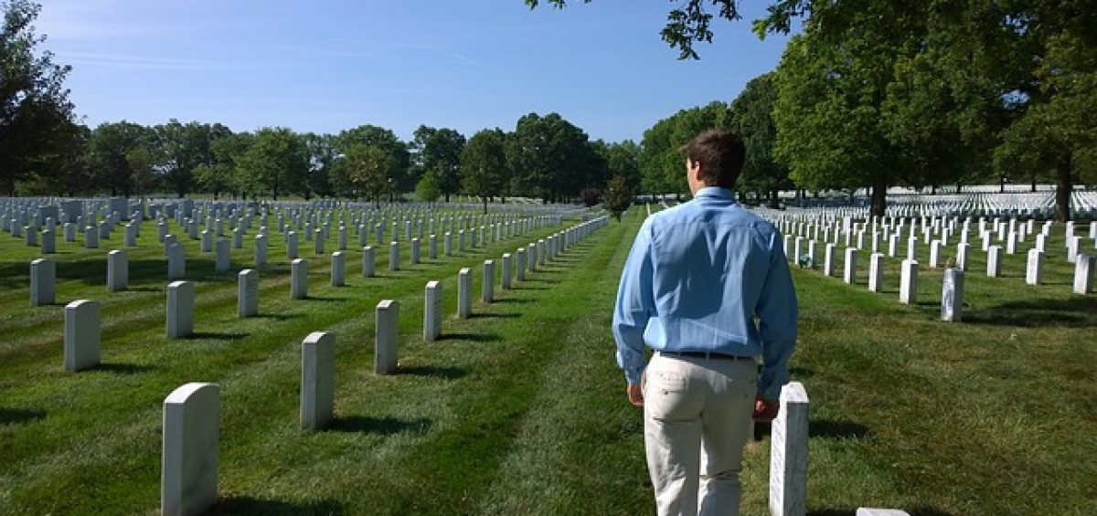 Lone mourner at Arlington Cemetary