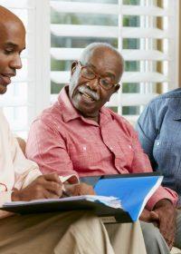 Senior couple discussing plans