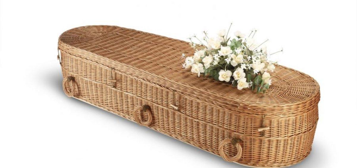 Green cemetery wicker casket