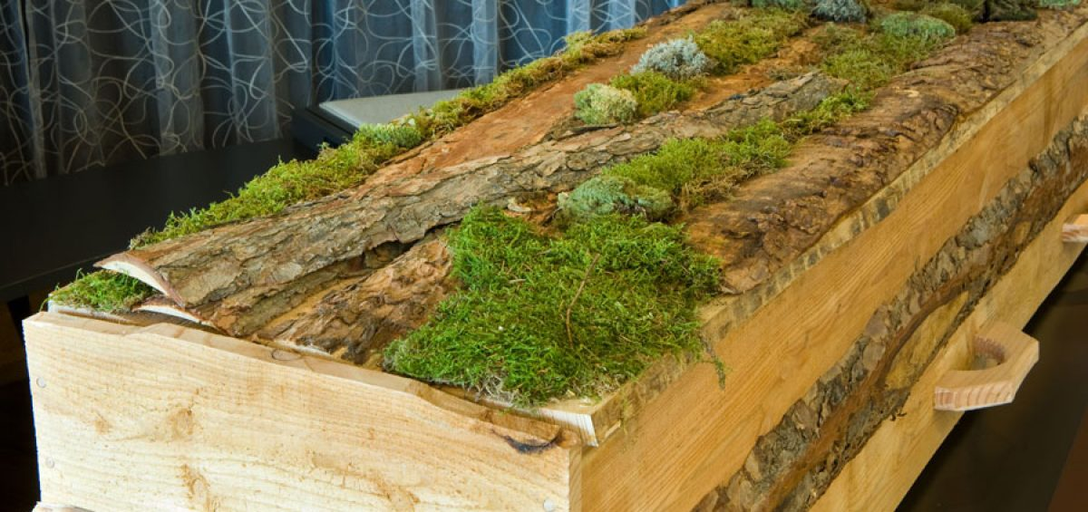 Wood casket, green funeral and green burial