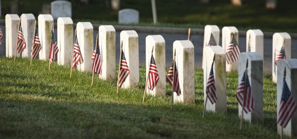 Flags at cemetery on Memorial Day