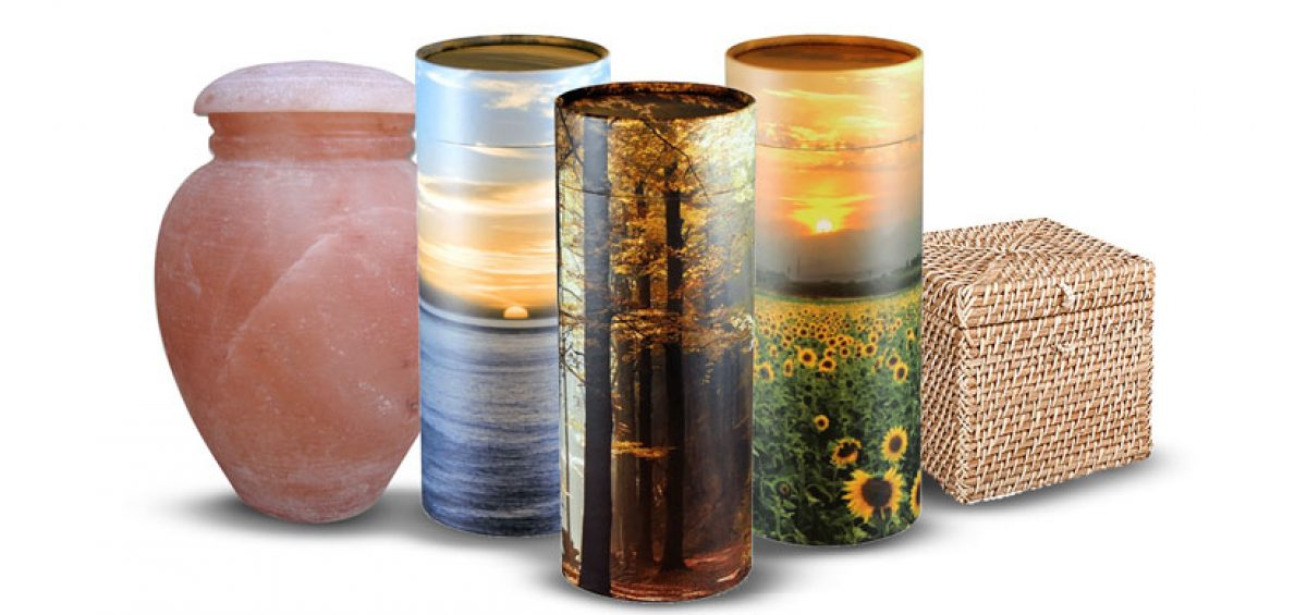 Earth-friendly cremation urns